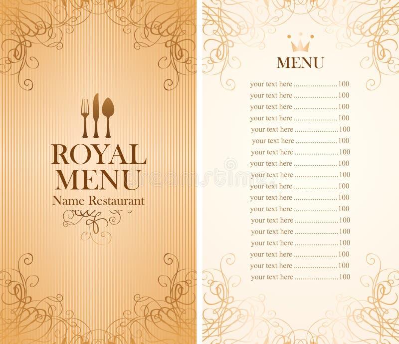 Kunglig meny för ett kafé stock illustrationer
