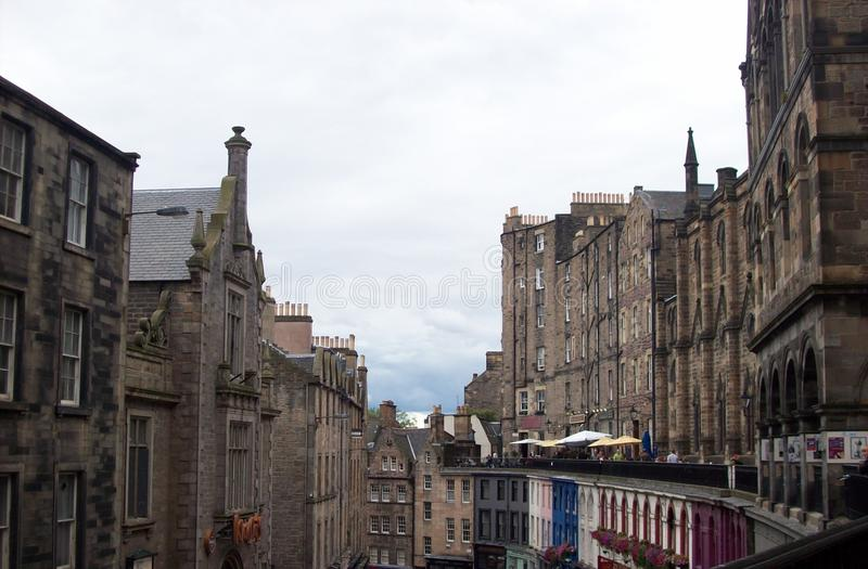 Kunglig mil den mest berömda gatan i Edinburg arkivbild