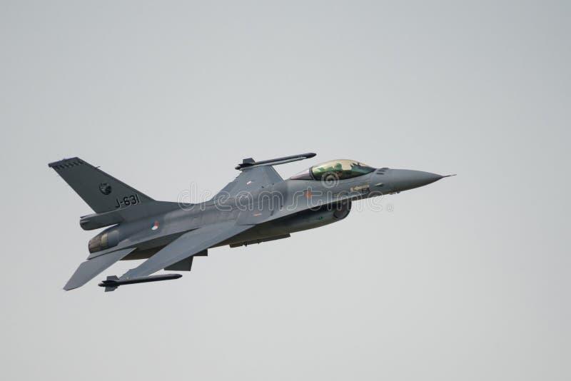 Kunglig nederländsk jaktflygplan F16 för flygvapen (RNLAF) arkivbild