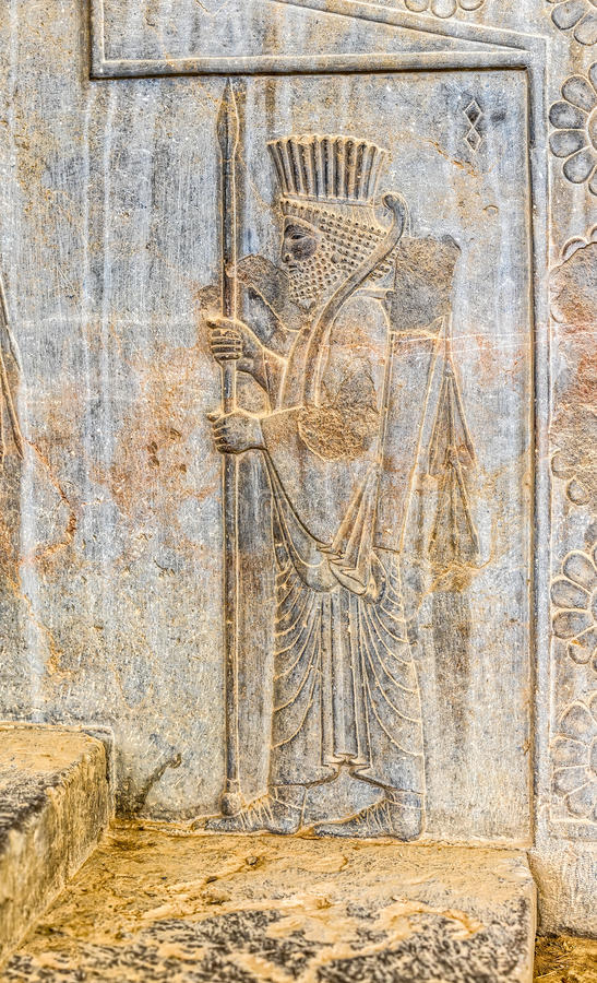 Kunglig persisk vaktlättnadsdetalj Persepolis royaltyfria bilder