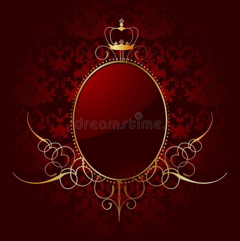 Kunglig röd bakgrund med guld- inramar. Vektor stock illustrationer