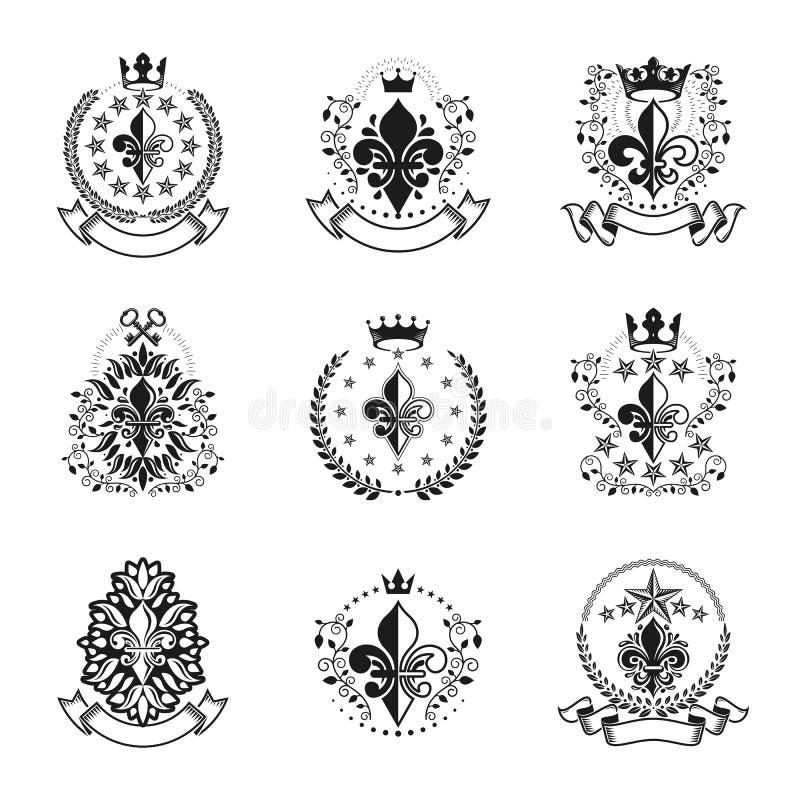 Kunglig upps?ttning f?r symbolLily Flowers emblem Heraldisk samling f?r vektordesignbest?ndsdelar Retro stiletikett royaltyfri illustrationer