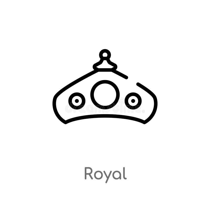 kunglig vektorsymbol för översikt isolerad svart enkel linje beståndsdelillustration från modebegrepp kunglig symbol för redigerb stock illustrationer
