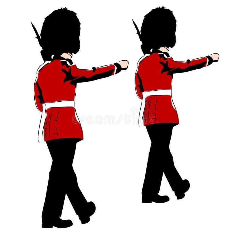 kungliga british guards royaltyfri illustrationer