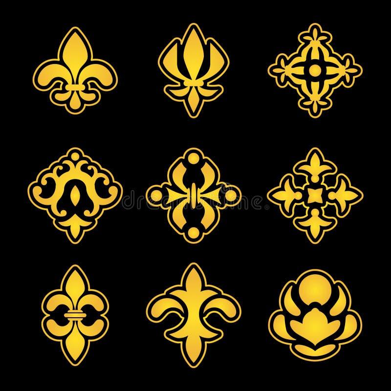 Kungliga liljabeståndsdelar För vektormodell för lilja blommor stiliserade symboler royaltyfri illustrationer
