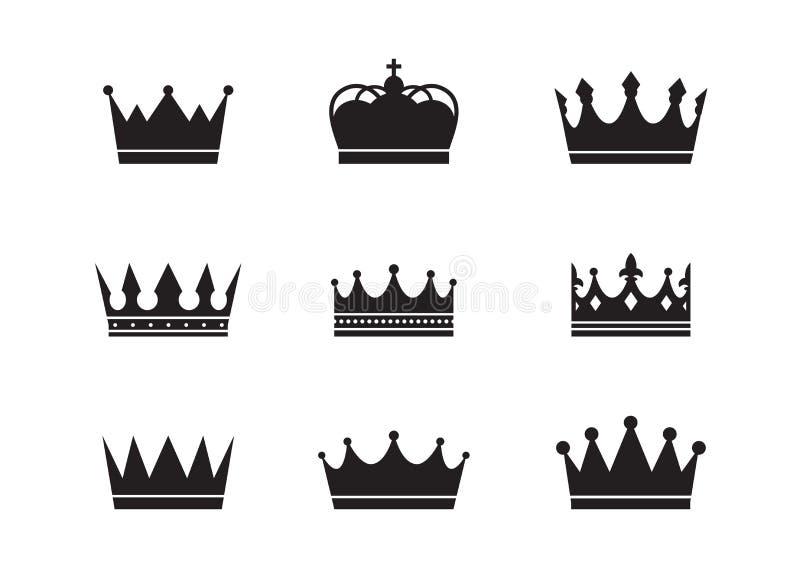 Kungliga personen kr?nar samlingen Kvalitets- kronasamling royaltyfri illustrationer