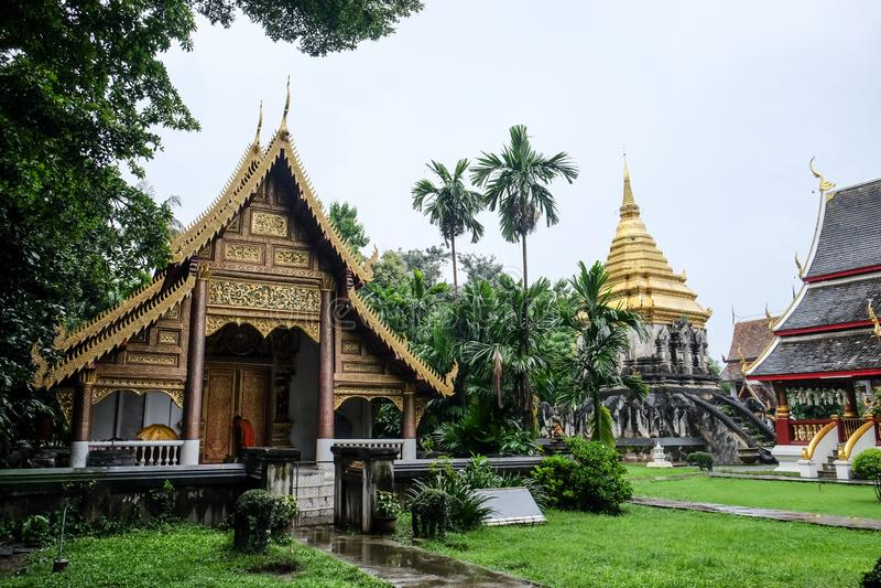 Kungligt floratempel (ratchaphreuk) i Chiang Mai, Thailand royaltyfria foton