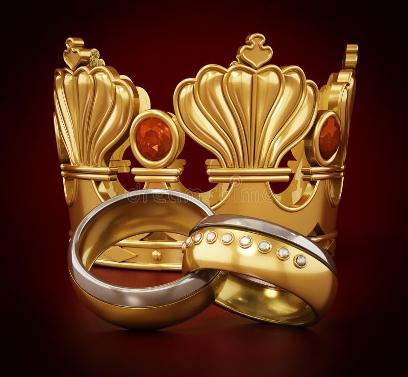 Kungligt gifta sig begrepp med kronan och vigselringar illustration 3d vektor illustrationer