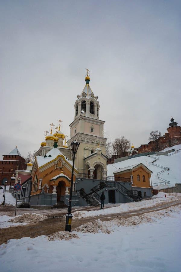 Kungligt kapell på kyrkan av Kristi födelse av John Forerunner nära Kreml av Nizhny Novgorod, Ryssland royaltyfri foto