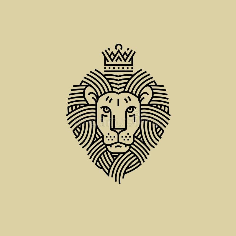 Kungligt lejon i stilen av gravyrlinjen design vektor illustrationer
