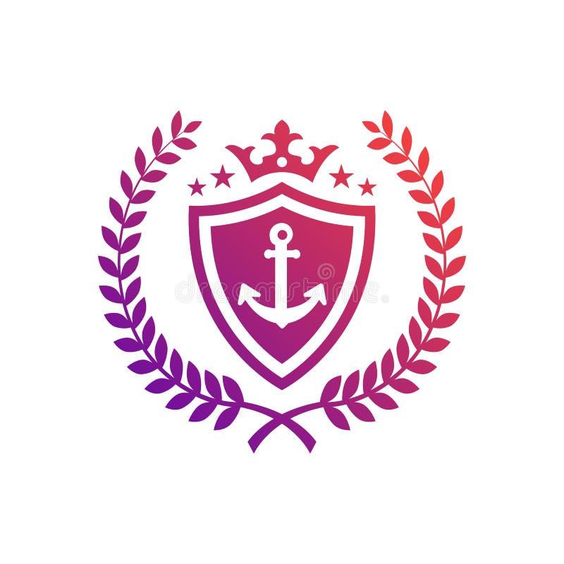 Kungligt nautiskt emblem vektor illustrationer