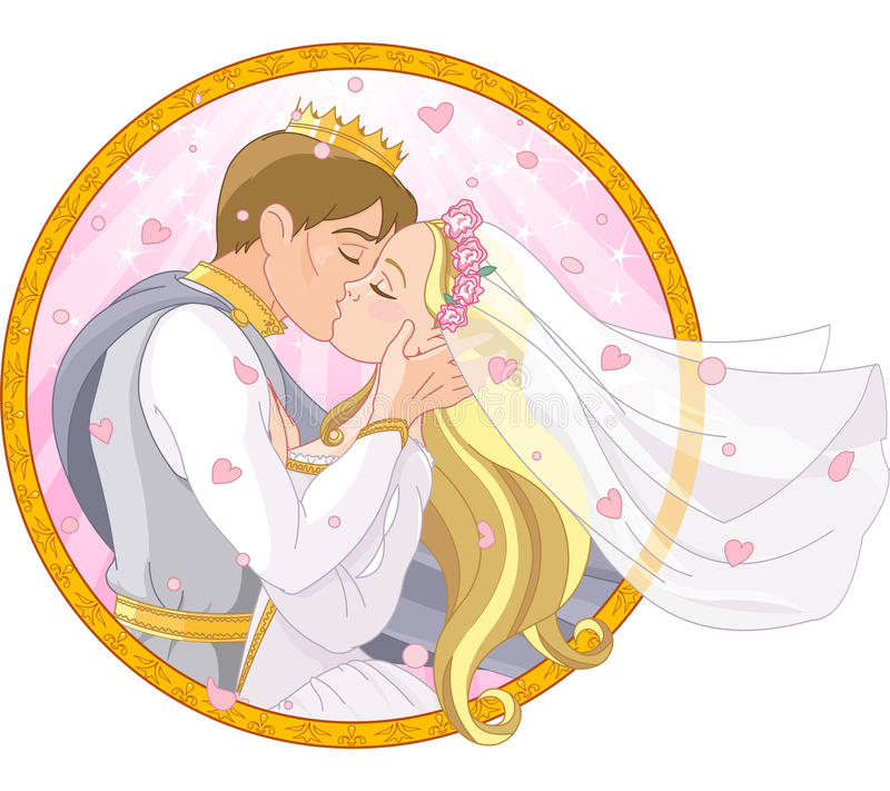 Kungligt parbröllop royaltyfri illustrationer