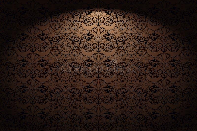 Kungligt tappning, gotisk horisontalbakgrund i guld, brons, karamell, choklad med en klassisk barock modell, rokoko stock illustrationer