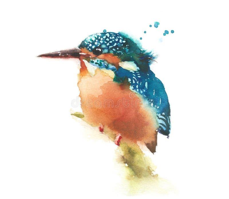 Kungsfiskarefågel på filialen stock illustrationer