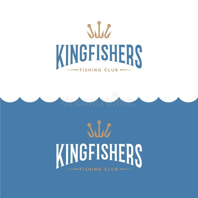 Kungsfiskarelogo Fiske- eller för fiskeutrustning lagerlogo Fiskare Club av emblemet royaltyfri illustrationer
