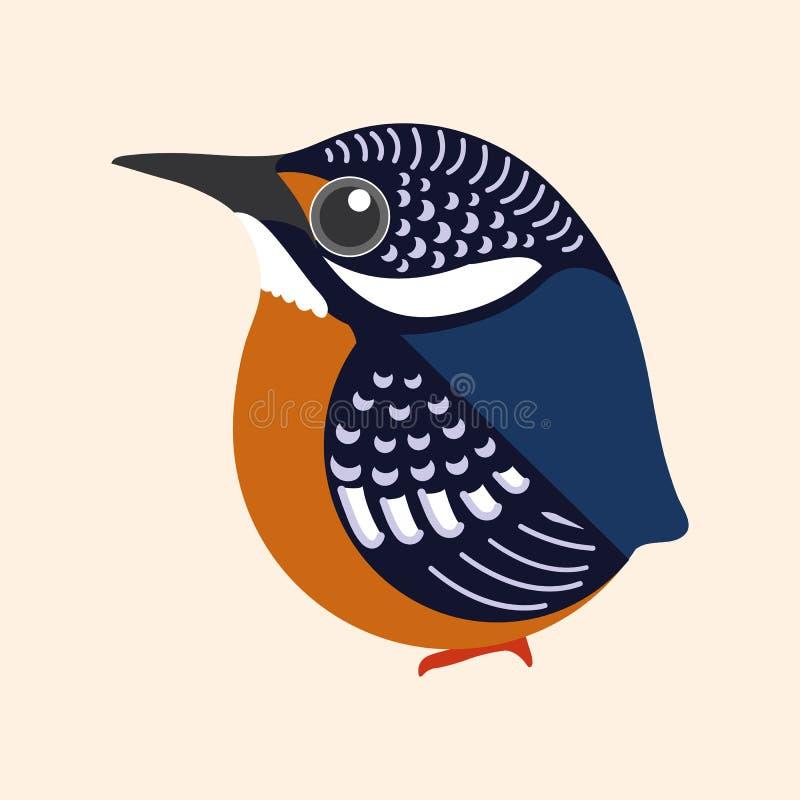 Kungsfiskaretecknad filmvektor, Blått-gå i ax vektor för kungsfiskarefågeltecknad film royaltyfri illustrationer