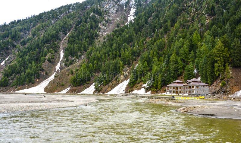Kunhar河在Naran Kaghan谷,巴基斯坦 库存图片