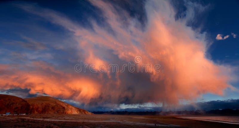 The burning cloud on the Kunlun Mountains stock photos