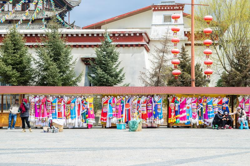 Photo booth with traditional clothing which is allow the tourist to dressing up for photo shooting in Guishan Park is located at S. Kunming,China - April 16,2017 royalty free stock photography