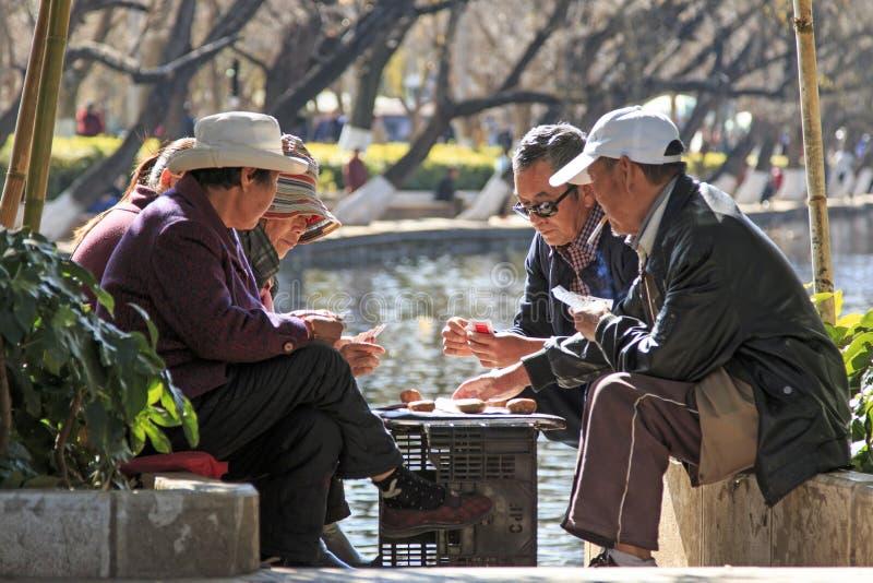 Kunming, China - Januari 8, 2016: Oude mensenspeelkaart in een park van Kunming in China stock afbeeldingen