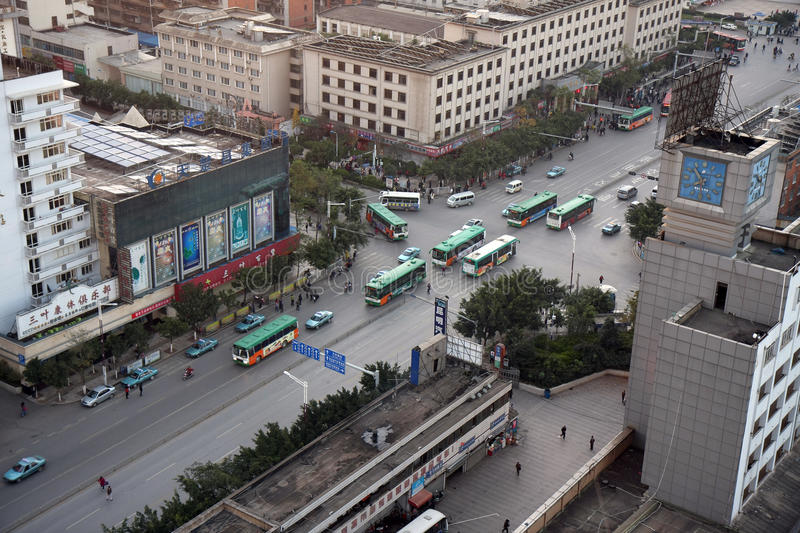 Download Kunming City Rush Hour editorial stock photo. Image of aerial - 23990473