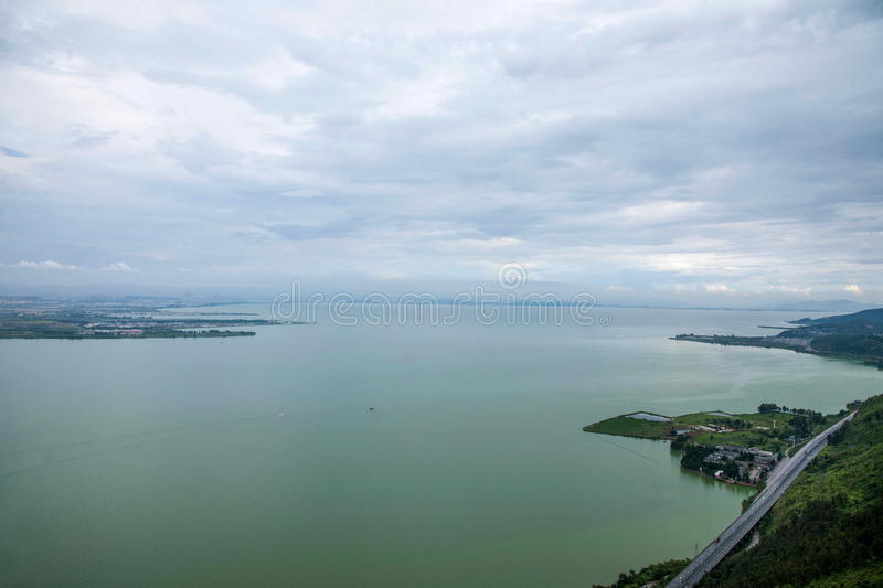 Kunming Dianchi Lake. Dianchi Lake (English name Tien Lake, also known as Tien Ch'ih or Dian Chi), also known as Kunming Lake, Kunming pool (K'un-Ming Ch'ih stock photography