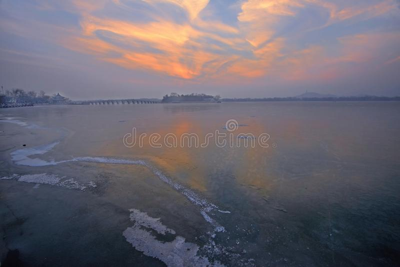 The Kunming lake in ice. The Kunming lake in Summer Palace royalty free stock image