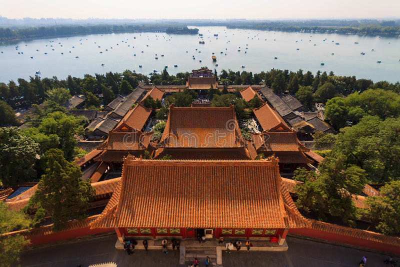 Kunming lake in the Summer Palace in Beijing. Countless cruise on kunming lake in the Summer Palace in Beijing over the waves, the original royal gardens today stock photos