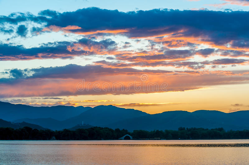 Kunming Lake. The kunming lake under the sunset in Summer Palace of Beijing, China royalty free stock photos