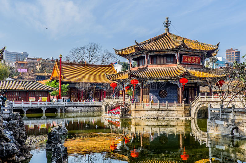 KUNMING-MARCH 13, 2016. Travelers in Yuantong Buddhist temple, Yuantong Buddhist temple is the most famous Buddhist temple in royalty free stock photography