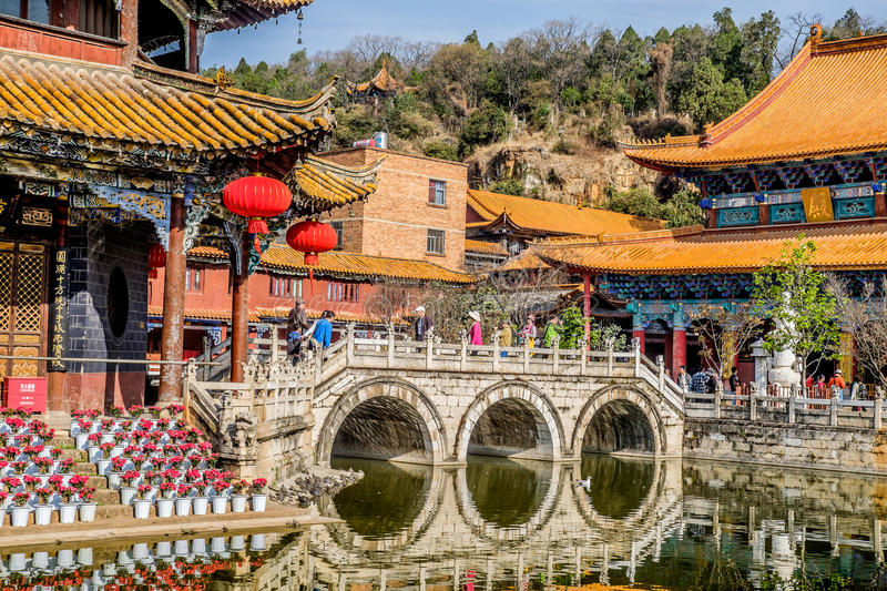 KUNMING-MARCH 13, 2016. Travelers in Yuantong Buddhist temple, Yuantong Buddhist temple is the most famous Buddhist temple in. Kunming, Yunnan province, China royalty free stock photography