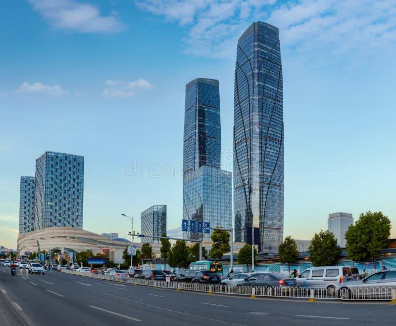 Kunming Wanda Plaza landskap royaltyfri fotografi