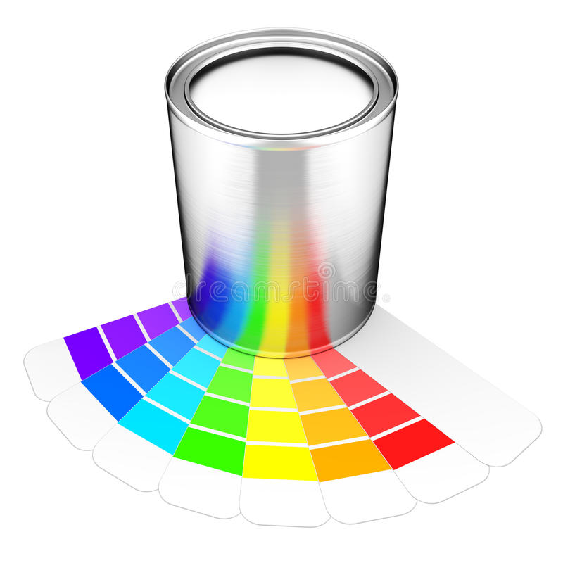 Kunna av målarfärg och paletten royaltyfri illustrationer
