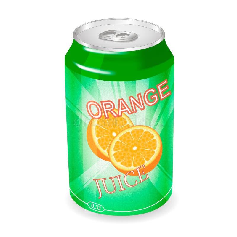 Kunna med orange fruktsaft vektor illustrationer