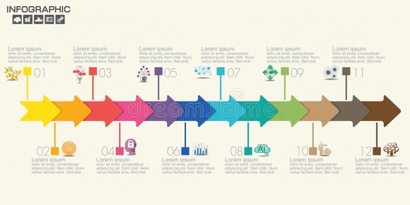 12 kunnen de delen infographic ontwerp vector en marketing pictogrammen voor werkschemalay-out, diagram, rapport, Webontwerp word vector illustratie