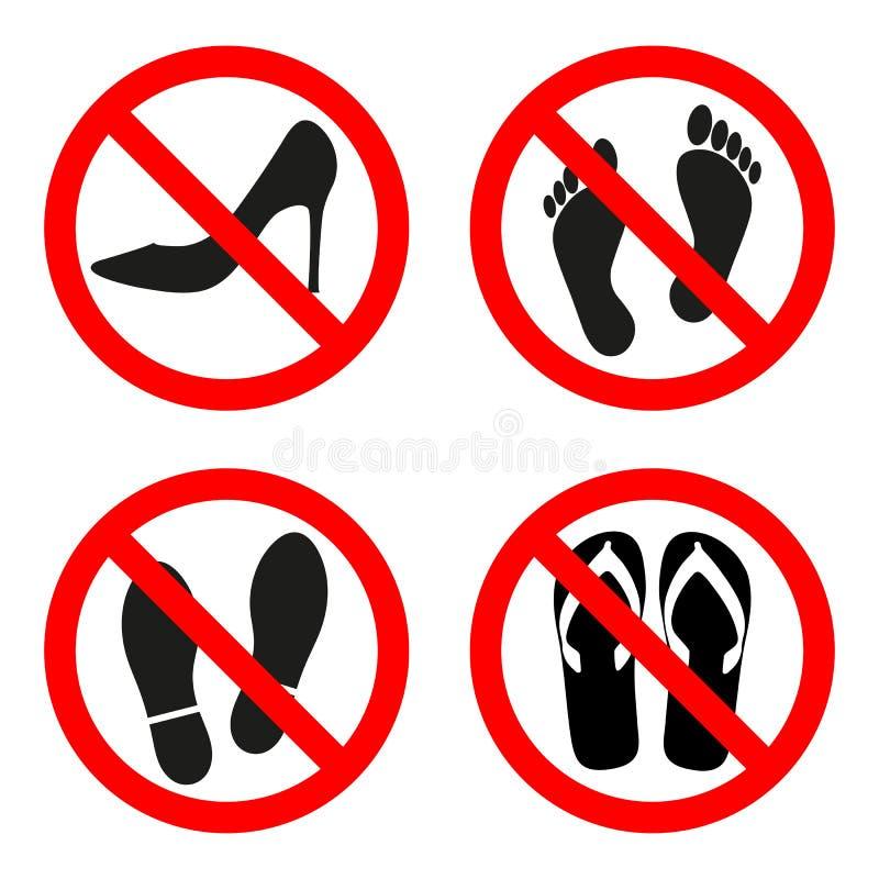 Kunnen de illustratieteken verboden schoenen, niet blootvoets in een rode cirkel op een witte achtergrond lopen stock illustratie