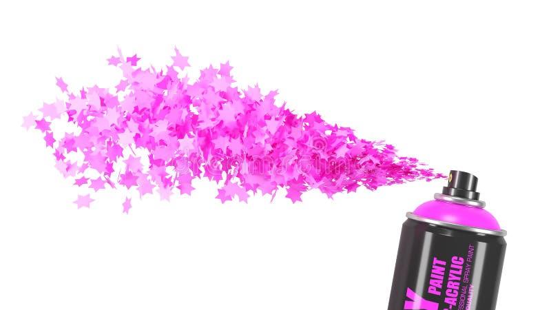 Kunnen de stroom roze sterren van nevelverf geïsoleerd op witte backgro vector illustratie