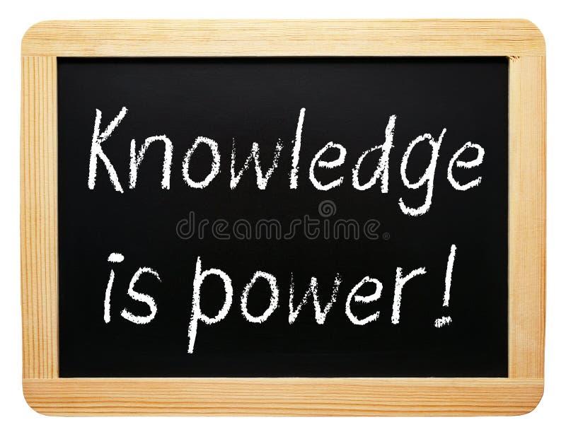 Kunskap är makt - svart tavla med text royaltyfri fotografi