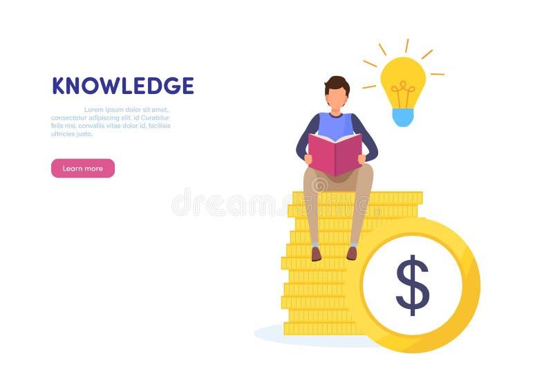 Kunskap är maktbegreppet rikt framgång, idé, expertis, utbildning Miniatyrillustrationvektor för plan tecknad film vektor illustrationer