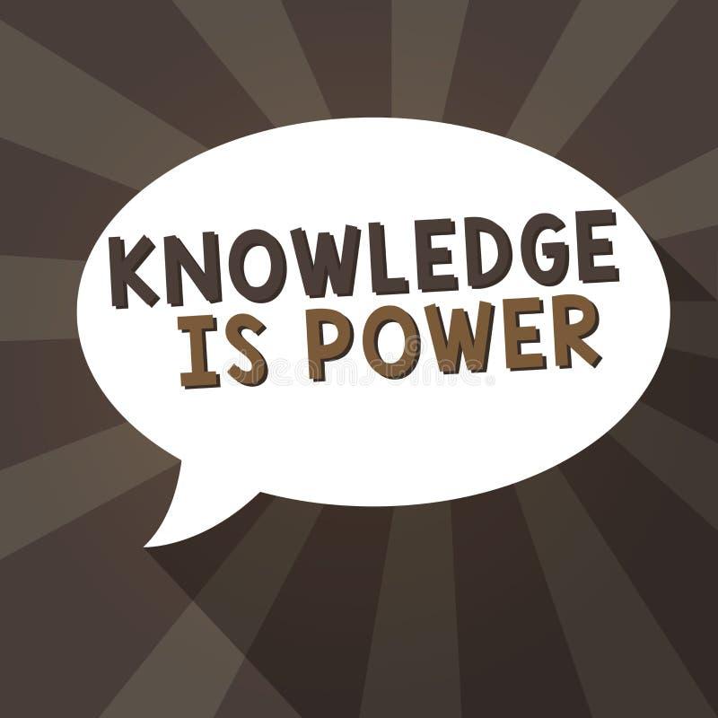 Kunskap för handskrifttexthandstil är makt Menande expertis för begrepp som fås till och med erfarenhet och utbildning royaltyfri illustrationer