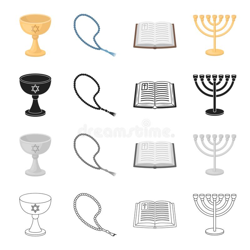 Kunskap, kyrkan, religionen och annan rengöringsduksymbol i tecknad film utformar Historia ljusstake, design, symboler i uppsättn royaltyfri illustrationer