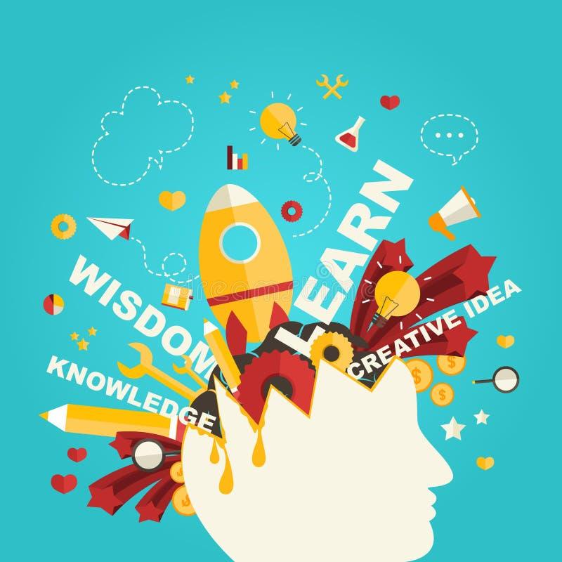 Kunskaps- och kreativitetsymboler flödar från ett manhuvud i infograph vektor illustrationer