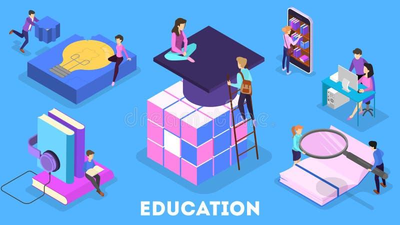 Kunskaps- och utbildningsbegrepp Folk som direktanslutet lär vektor illustrationer