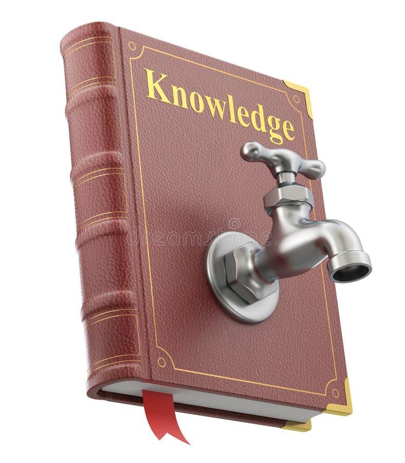 Kunskapsbegrepp med vattenvattenkranen på den gamla boken royaltyfri illustrationer