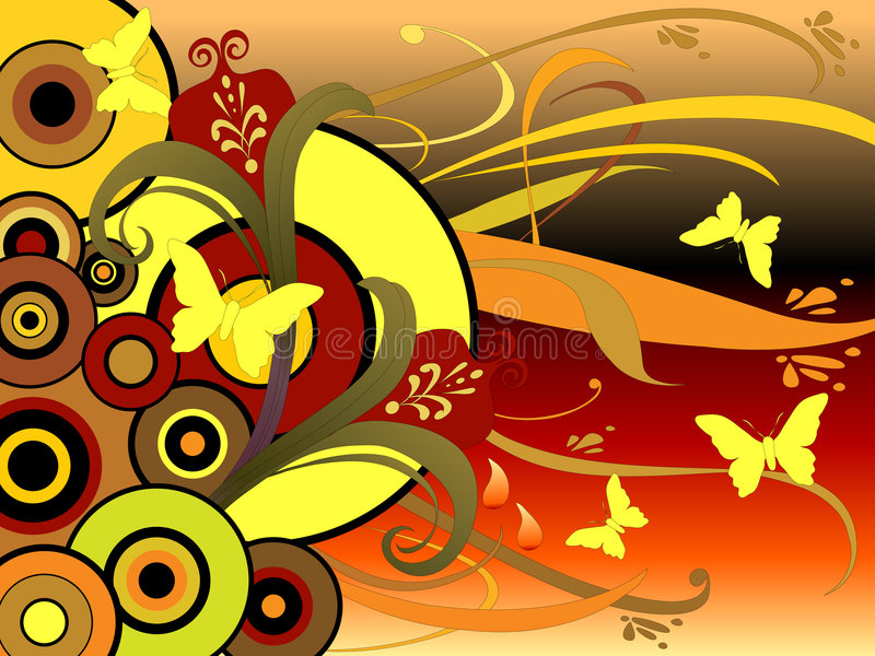 Kunst 30 van de Cirkel van de vlinder Bloemen vector illustratie