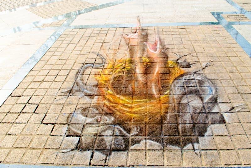 Kunst 3D auf der Straße (23. März-7. April 201 lizenzfreies stockfoto