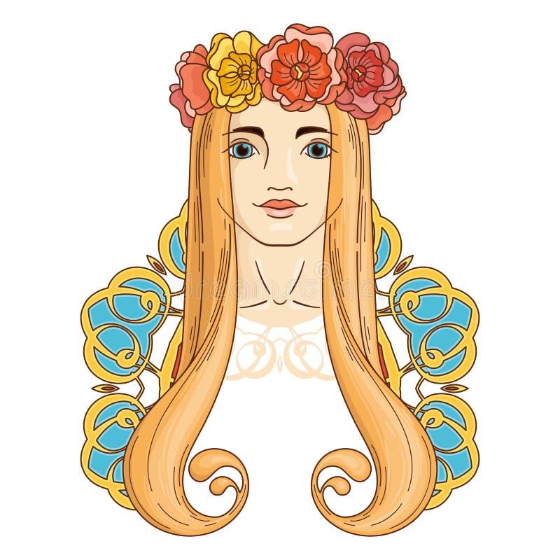 Kunst in Art Nouveau-Art mit Schönheitsmädchen im Kranz lizenzfreie abbildung
