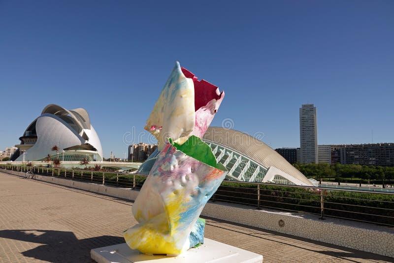 Kunst bij Stad van Kunsten en Wetenschappen in Valencia, Spanje royalty-vrije stock foto