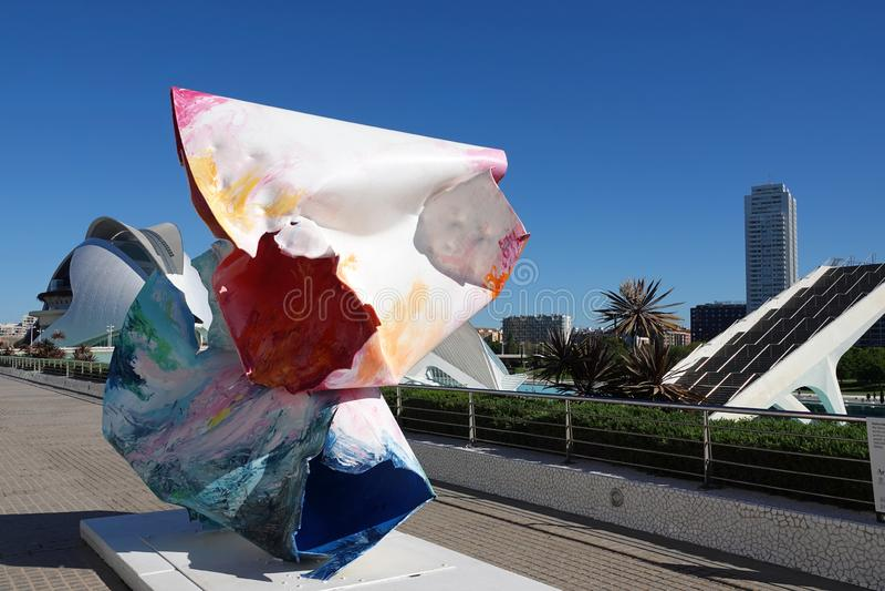 Kunst bij Stad van Kunsten en Wetenschappen in Valencia, Spanje stock foto