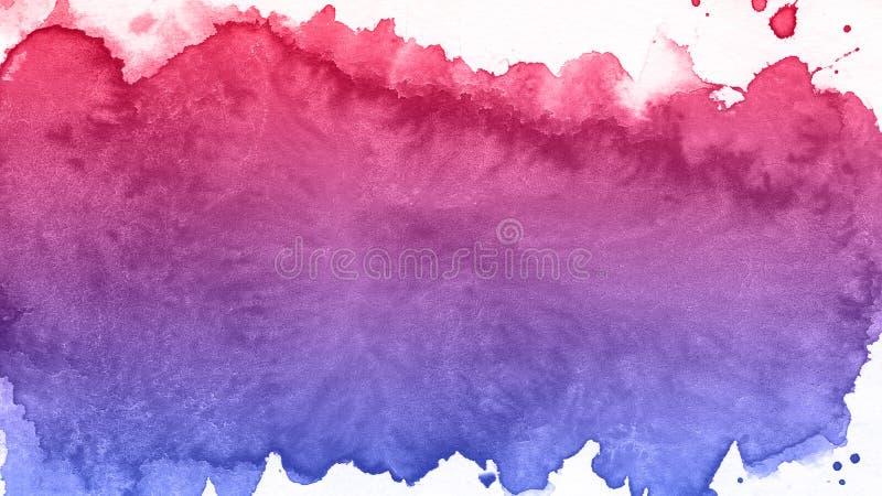 Kunst Blauer und roter Hintergrund des Aquarells Schöner Planet stockfoto